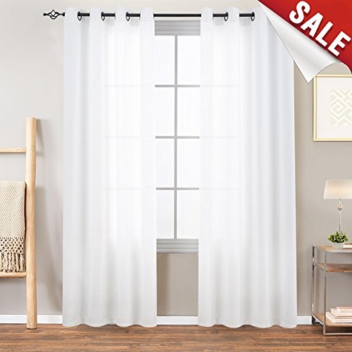 White Semi Sheer Curtains Bedroom Casual Weave Linen Look Privacy White Heavy Sheer Curtain Set Living Room 95 inches Length, 2 Panels - Soft Weave Linen