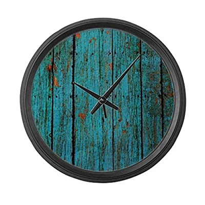 "CafePress - Teal Nailed Wood Fence Texture - Large 17"" Round Wall Clock, Unique Decorative Clock"
