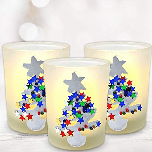 - BANBERRY DESIGNS Christmas Candle Holder Set - Set of 3 Frosted Glass Votive Holder Hand Painted with Glittery Xmas Trees - 3 White LED Votive Candles Included