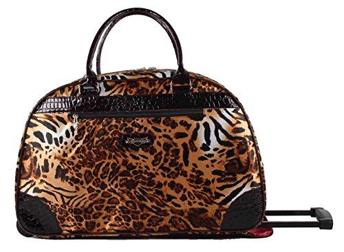 Kathy Van Zeeland Women's 22 Inch Printed Rolling Carry-On (One Size, Brown - Vans Cheetah Women