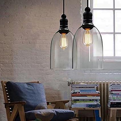 Moderna Vintage Retro Industria Loft Cristal Lámpara de techo pantalla lámpara colgante