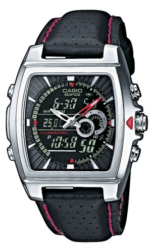 (Casio Stainless Steel Edifice Square Black Dial Chronograph Strap Red Accents )