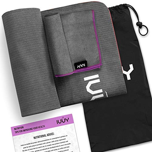 IVVY Yoga Towel Non Slip, 100% Microfiber, Yoga Towel – Mat, 4 in 1 Set – Includes Hand Towel Carry Bag Nutritional Wall…