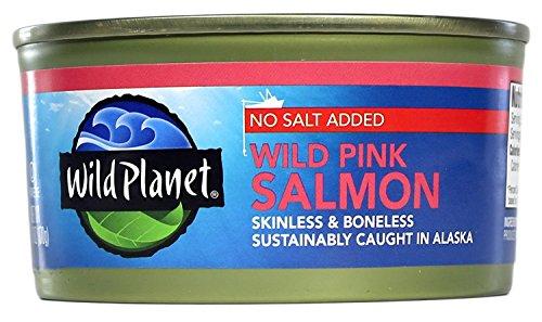 Wild Planet Alaska Pink Salmon No Salt, 6 Ounce, Pack of 12
