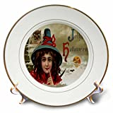 3dRose cp_6032_1 Vintage Jolly Halloween Porcelain Plate, 8-Inch