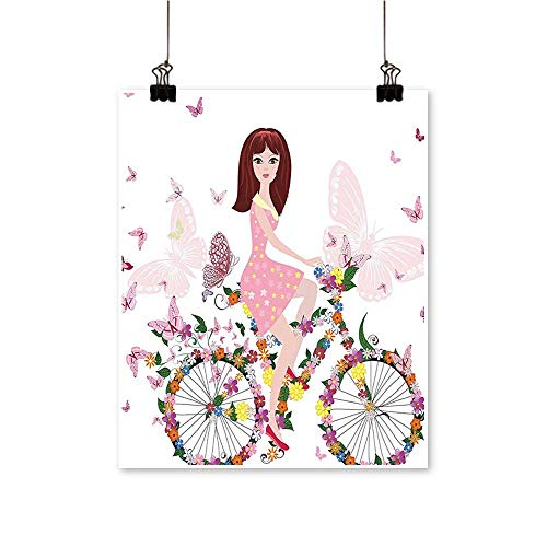 """Canvas Print Wall Art Flower Girl The Bicycle Butterfli Light Pink and White Canvas Texture Decoration,12""""W x 20""""L/1pc(Frameless)"""