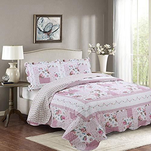 Mk Collection 2pc Twin Reversible Bedspread Coverlet Set Floral Bedding Pink White Green Blue New