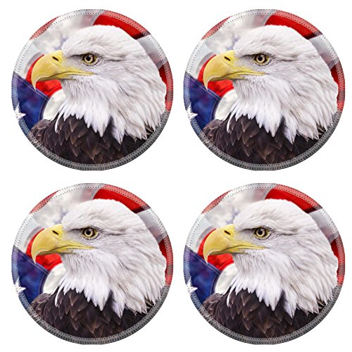 Liili Round Coasters Non-Slip Natural Rubber Desk Pads IMAGE ID: 18992161 Bald eagle with the american flag out of focus and grunge look
