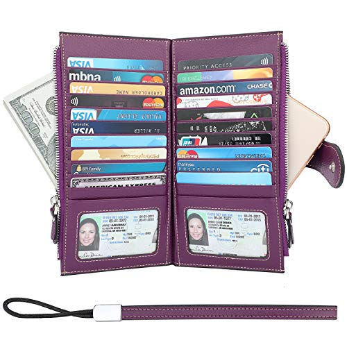 Lavemi RFID Blocking Credit Card Holder Bifold Genuine Leather Wallets for Women with Wristlet Two Large Zipper Pockets(Pebbled Purple) ()