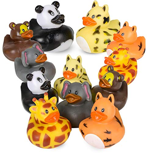 4E's Novelty Zoo Animal Rubber Duckies Bulk Pack of 12, Children Bathtub Ducky Toys, Birthday Party Favors for Kids, Baby Gifts, 2 inches