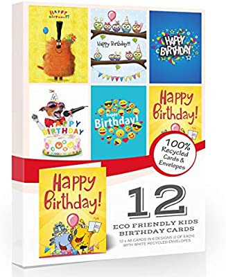 Made in The UK Includes envelopes 12 x Kids Animal Fun Birthday Card Pack by Olivia Samuel/™
