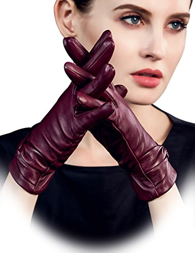 5e98008f2 YISEVEN Women's Touchscreen Lambskin Dress Leather Gloves with Knot Wool  Lined Real Luxury Stylish Elegant Warm Fur Heated Lining for Winter Ladies  ...