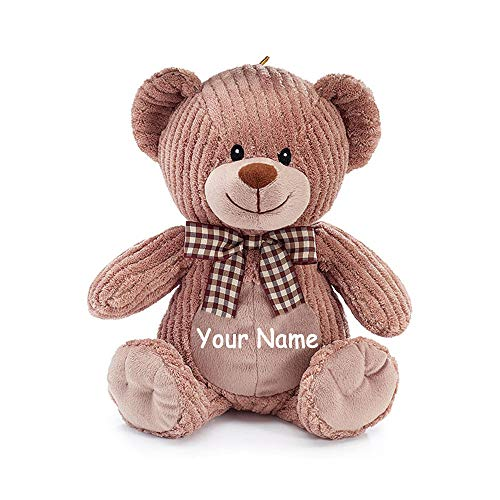 - Burton & Burton Personalized Corduroy Brown Teddy Bear with Brown Plaid Print Bow Plush Stuffed Animal Toy for Boys or Girls with Custom Name