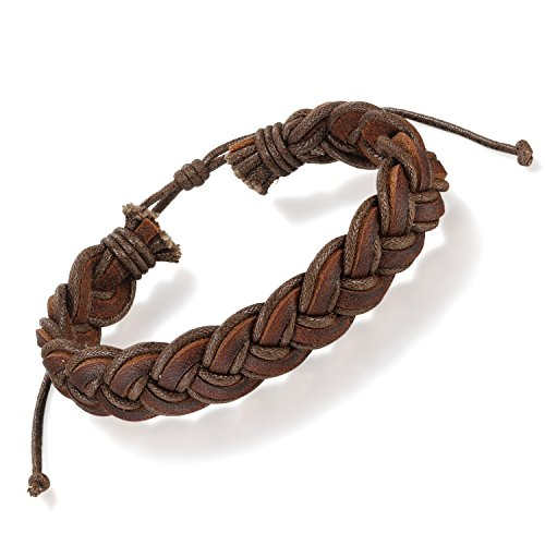 Flongo Men's Punk Style Handcrafted Coffee Braided Curb Adjustable Chain Leather Bracelet, Fit 7-9 inch Wrist, Woven Leather Rope Wrap Surfer Cuff Bracelet