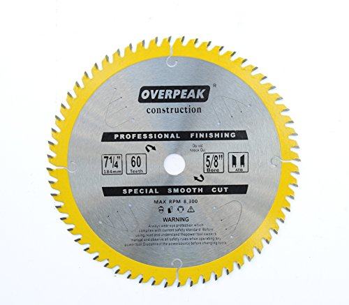 OVERPEAK 7 1/4 Inch Circular Saw Blade 60 Tooth Ultra Finish Framing Carbide Saw Blades with 5/8 Inch Arbor