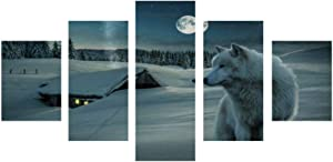 BUG-LPH Snow Fox Animal Canvas Art Wall Decoration, Living Room Bedroom Office Decoration Painting Art 5 Panel