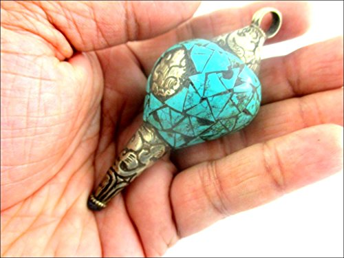 (Jet Tibetan Turquoise Conch Shell Pendant 3.5 inch Nepal Shankh Sacred Trumpet Hindu God Holy Himalayan Buddhism Buddha Swastika Jet Crystal Therapy Booklet Amulet India Image is JUST A Reference. )