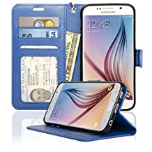 Samsung Galaxy S6 Wallet Folio Leather Life Protective Case with Four Card Pockets & Money Slot, Removable Strap - Navor (Hot Blue)