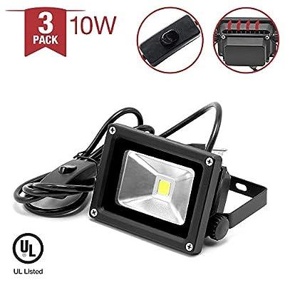 |3-Pack| 10W 5400K LED Flood Light Daylight White Continuous Light