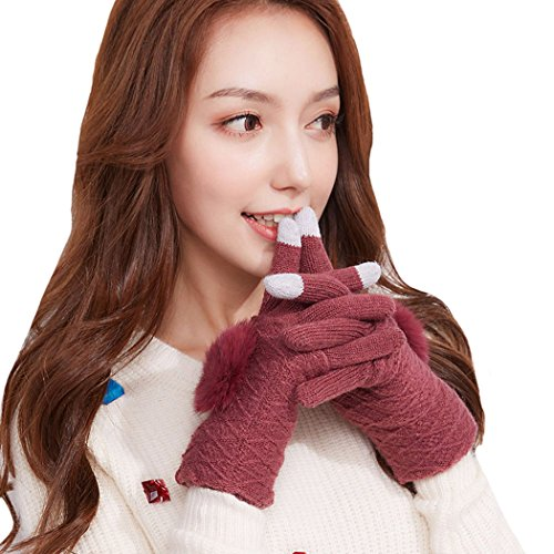 Women Winter Warm Removable Glove Thick Knitted Stretchy Plush Lined Touchscreen Red ()