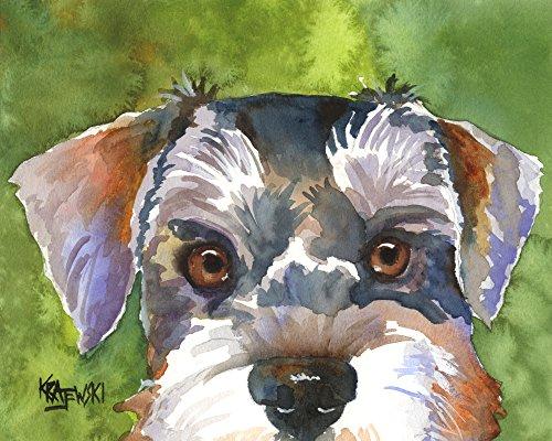 Miniature Schnauzer Dog Fine Art Print on 100% Cotton Watercolor Paper