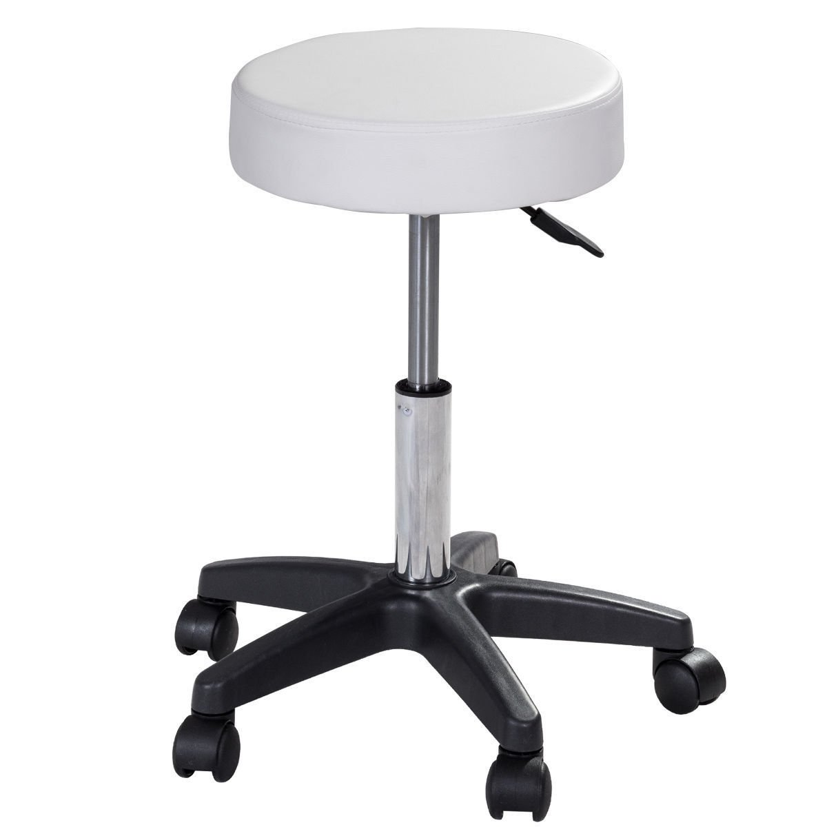 G&GOnline 1 PC adjustable Hydraulic Rolling Swivel Bar Stool Massage Spa Beauty Seat White