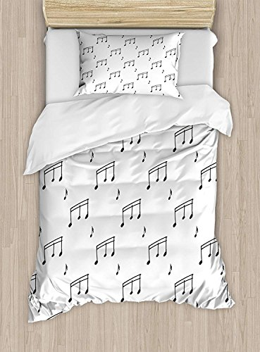 Full Bedding Sets for Boys, Music Duvet Cover Set, Musical Notes Theme Melody Sonata Singing Song Clef Tunes Hand Drawn Style Pattern, Include 1 Flat Sheet 1 Duvet Cover and 2 Pillow Cases -