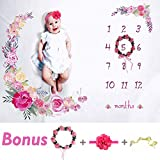 Baby Monthly Milestone Blanket Large 60'x40' | Bonus Floral Wreath & Headband | Soft Photography Background Blanket | Newborn Girls or Boys Photo Prop | Best Baby Shower Gift | Months Watch Me Grow