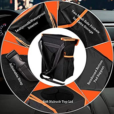 ELV Car Trash Can, Auto Leakproof Garbage Bin Container with Storage Pockets and Lid for Door, Console, Headrest Back - Trash Bag for Car, Truck, SUV, Outdoor Picnic: Automotive