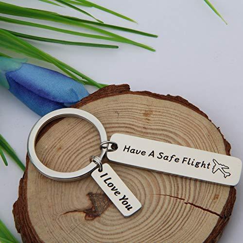 FEELMEM Safe Travels Keychain Have a Safe Flight Keychain Travel Jewelry Flight Attendant Pilot Traveler Gift Family Friend Gift (Silver) by FEELMEM (Image #3)