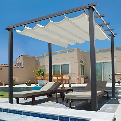 IDMarket Pérgola de techo retráctil - 4 pies - 3 x 4 m - Color crudo: Amazon.es: Jardín