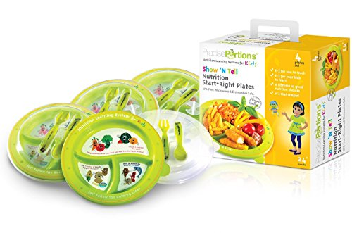 Precise Portions PPK-PK4PL-Span Show N Tell Nutrition Spanish Start-Right Plates with Lid and Utensils, Dietitian Developed Portion Control Divided Plates, Microwave Dishwasher Safe, No BPA, Reusable Dinnerware (Pack of 4)