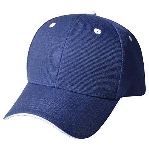 QML SANDWICH Plain Baseball Cap Hat Solid Color, Eyelet Colors Velcro Adjustable ( Many Colors ) (NAVY/WHITE)