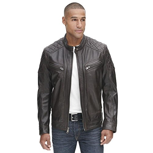 Wilsons Leather Mens Vintage Quilted Leather Jacket W Zippered Pockets L Espres