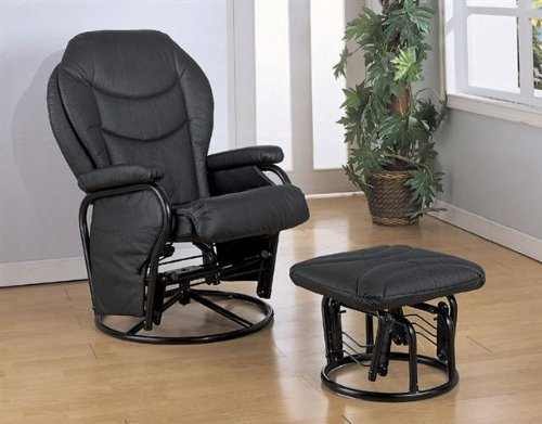 Black Leatherette Cushion Glider Rocker Chair w/Ottoman Coaster Furniture AZ04-841