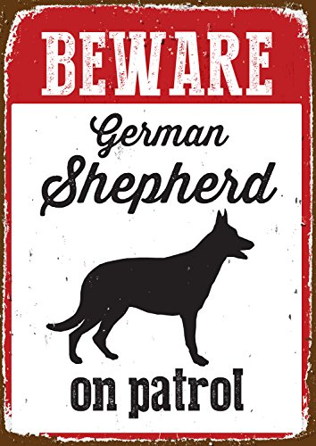 Beware German Shepherd on Patrol Tin Sign