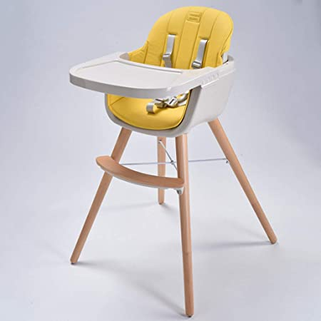 Wooden High Chair Convertible Modern Highchair With Cushion Adjustable Feeding High Chair Baby Infant Toddler High Chairs With Removable Tray Wipe Clean Comfortable Baby Cushion Yellow Amazon Co Uk Kitchen Home