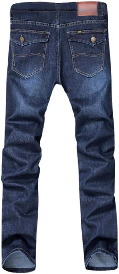 Nuovo da uomo largo dritto jeans regular gamba dritta Fit Basic Loose denim jeans pantaloni 28 Blue