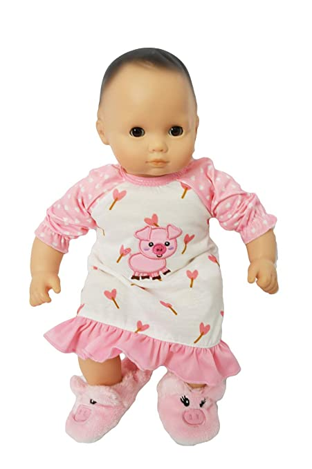 5177a1b7a4 Amazon.com  Brittany s Piggy Nightgown Compatible with 15 Inch Bitty Baby  Dolls- Doll Clothes  Toys   Games
