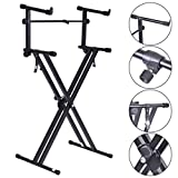 Pro Adjustable 2-Tier X Style Dual Keyboard Stand Electronic Piano Double