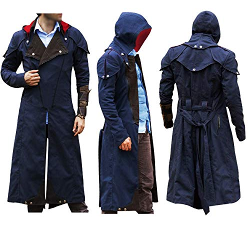 Mens Assassins Creed Unity Arno Victor Dorian Cosplay Costume Cloak Denim Hoodie Coat Jacket]()