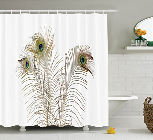 Peacock Decor Shower Curtain Set