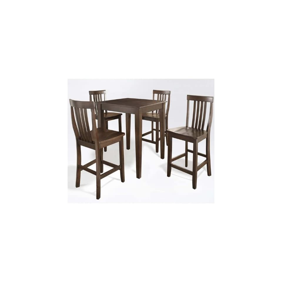 Crosley 5 Piece Pub High Dining Set with Tapered Leg and School House Stools