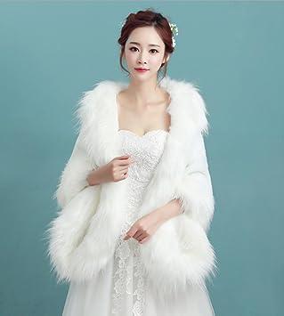 ZYQYJGF Mantón Del Abrigo De Pieles Novia Vestido Capa Blanca Navidad Gran Mantón De Novia: Amazon.es: Hogar