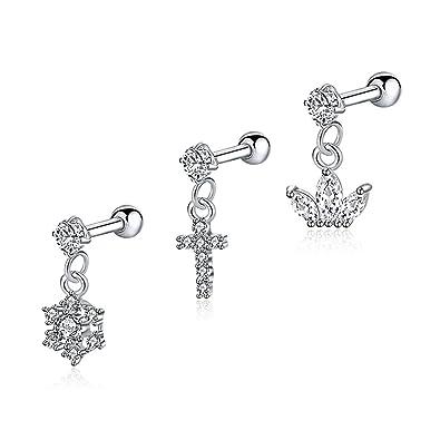Amazon Com Evbea 3pcs 18g Tragus Earrings Surgical Steel Clear Cz