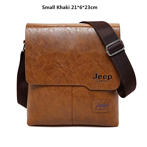 Men Tote Bags JEEP BULUO Famous Brand New Fashion Man Leather Messenger Bag Male Cross Body Shoulder Business Bags For Men (Small, Khaki no Wallet)