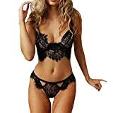 Yuson Girl Lingerie Sets, Women Lingeries Lace Sexy Sleepwear Nightwear Underwear Bodysuit Jumpsuit for Ladies (Black, M)