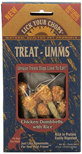 Lick Your Chops Treat-Umms Chicken Dumbbells With Rice Treats For Dogs, 2.5-Ounce Boxes (Pack Of 6) (Chicken Dumbells)