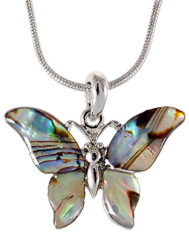 Alilang Silver Tone Abalone Colored Stone Butterfly Insect Wings Pendant Necklace