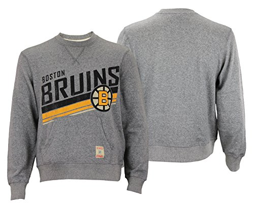 CCM NHL Men's Boston Bruins Classic Wash Fleece Crew Sweater, Grey